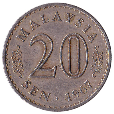 20 sen coin Malaysia (First series)