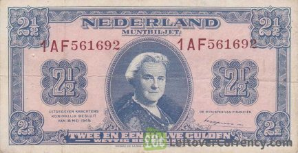 2 1/2 Dutch Guilders banknote (Muntbiljet 1945) obverse accepted for exchange