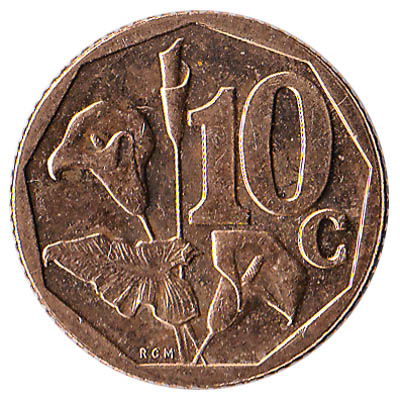 10 cents coin South Africa (bronze coloured)