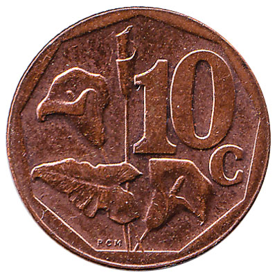 10 cents coin South Africa (copper coloured)