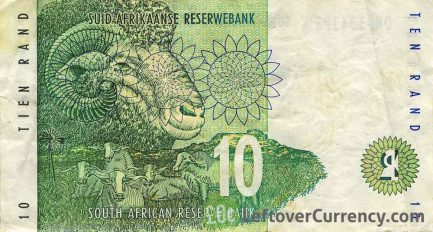 10 South African Rand banknote (Rhino type 1993)