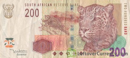 200 South African Rand banknote (Leopard type 2005) obverse accepted for exchange