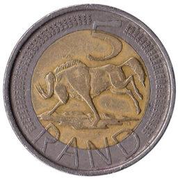 5 South African rand coin (bi-metallic)