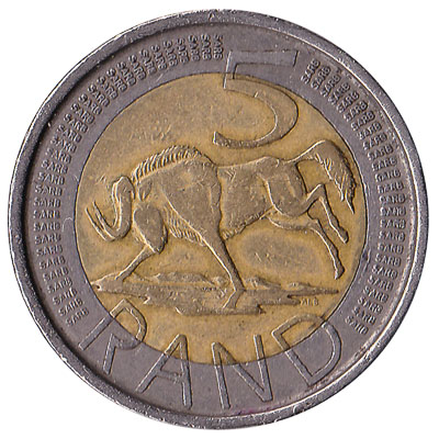 5 South African rand coin (bi-metallic)