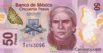 50 Mexican Pesos banknote enhanced security features (Series F) obverse accepted for exchange