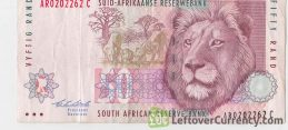 50 South African Rand banknote (Lion type 1993) obverse accepted for exchange