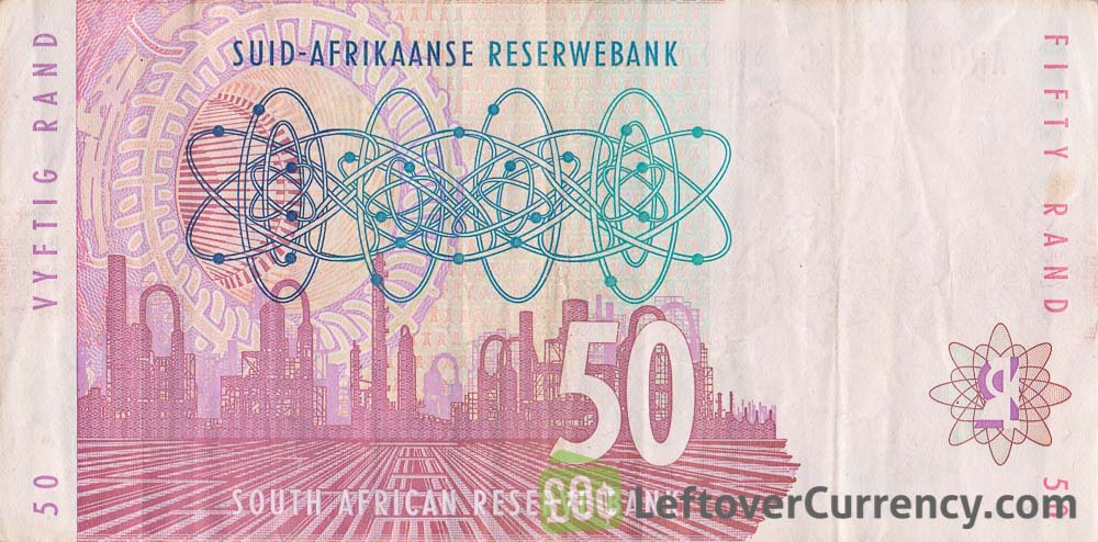 50 South African Rand banknote (Lion type 1993) reverse accepted for exchange