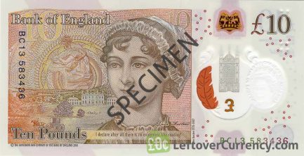 Bank of England 10 Pounds Sterling polymer banknote (Jane Austen)