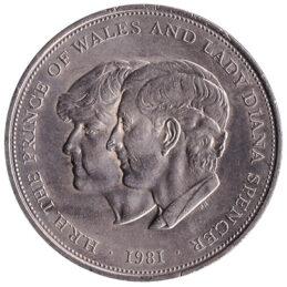 British Crown coin Charles and Diana royal wedding (1981)