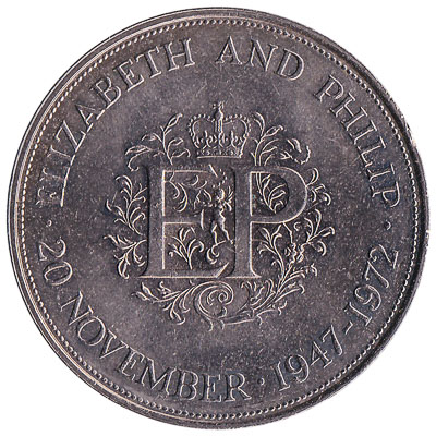 British Crown coin Elizabeth and Philip silver wedding anniversary (1972)