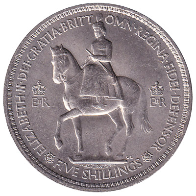 British Five Shillings coin Coronation Crown (1953)