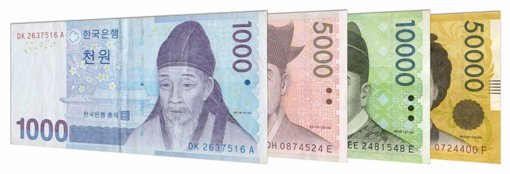 current South Korean Won banknotes