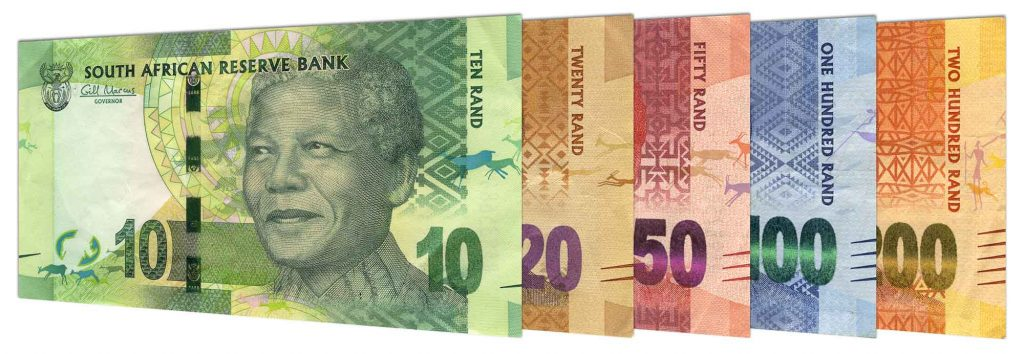 current South African Rand banknotes Nelson Mandela portrait series