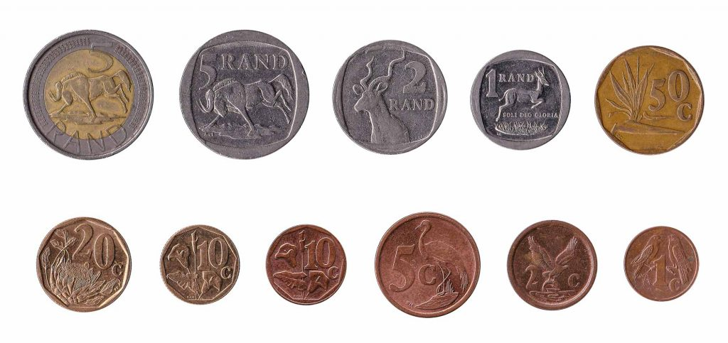 South African rand and cent coins