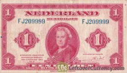 1 Dutch Guilder banknote (Muntbiljet 1943)
