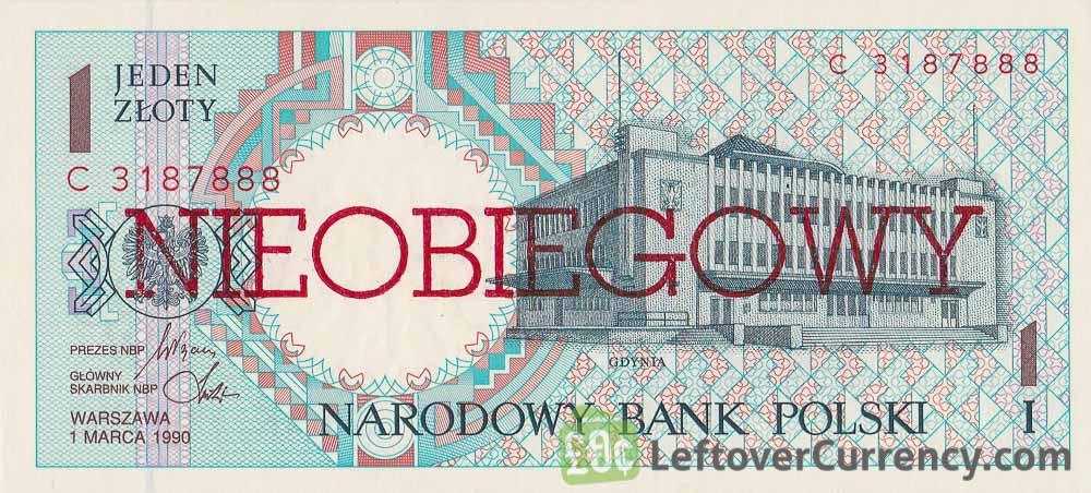 1 Polish Zloty banknote (Nieobiegowy)