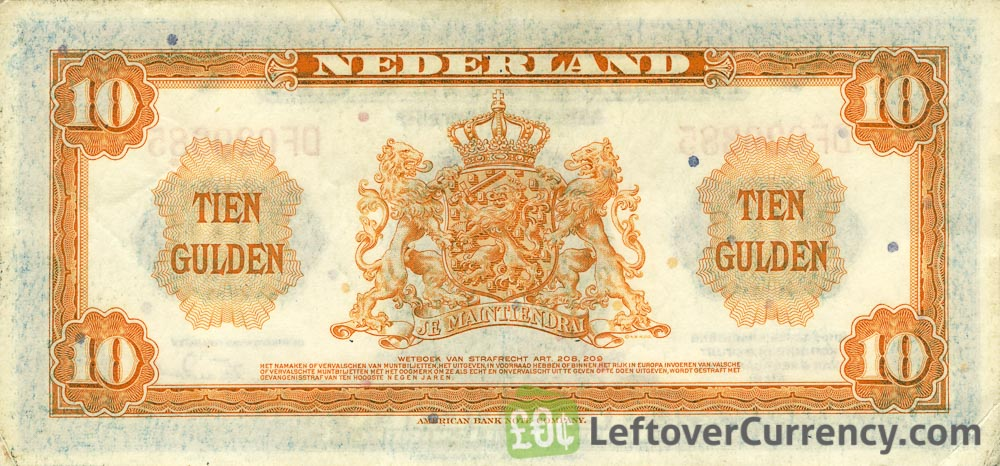10 Dutch Guilders banknote (Muntbiljet 1943)