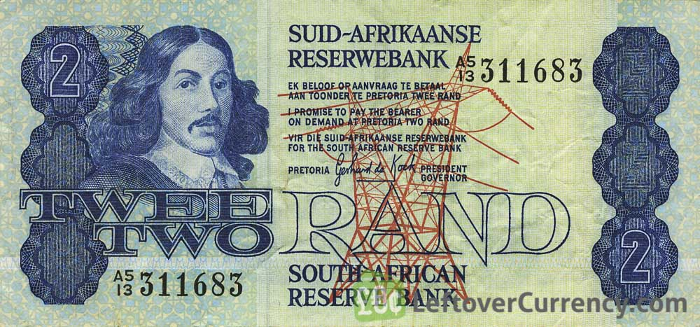 2 South African Rand banknote (van Riebeeck 1978 Issue)
