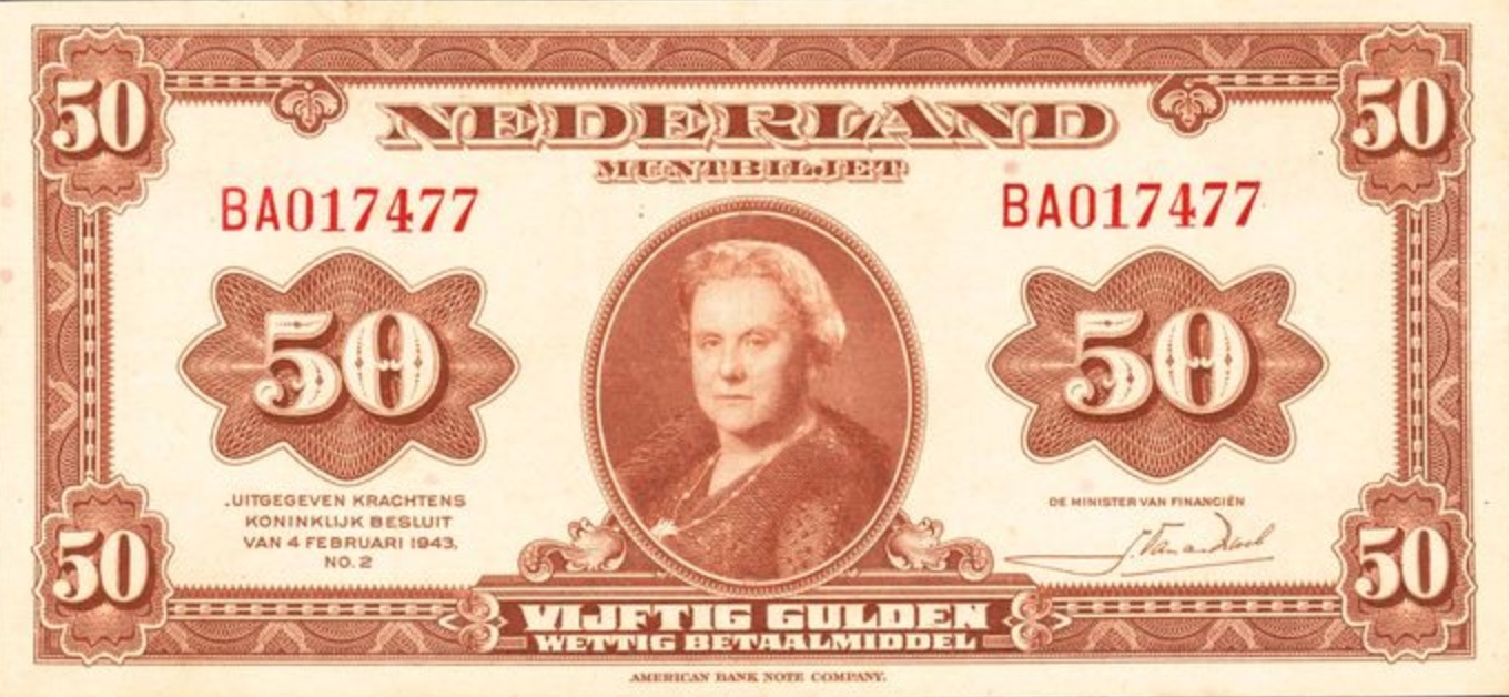 50 Dutch Guilders banknote (Muntbiljet 1943)