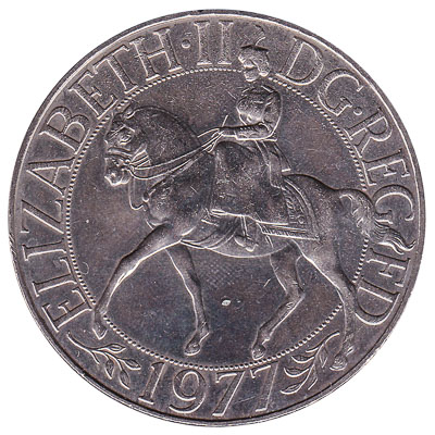 British Crown coin Queen Elizabeth II Silver Jubilee (1977)