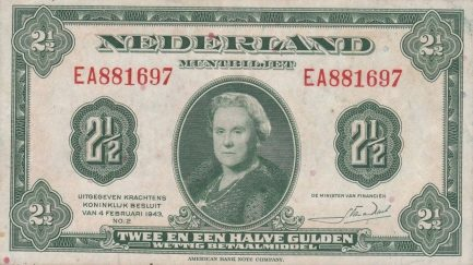 2 1/2 Dutch Guilders banknote (Muntbiljet 1943)