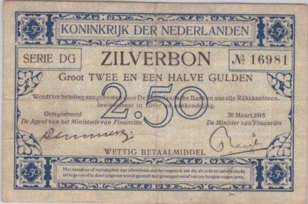 Zilverbon 2 1/2 Dutch Guilder banknote WWI