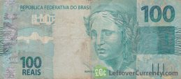 100 Brazilian Reais banknote (2010 issue) obverse accepted for exchange