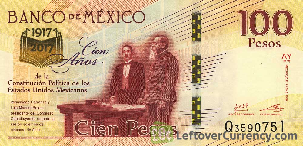 100 Mexican Pesos commemorative banknote (100th Anniversary Constitution of Mexico)