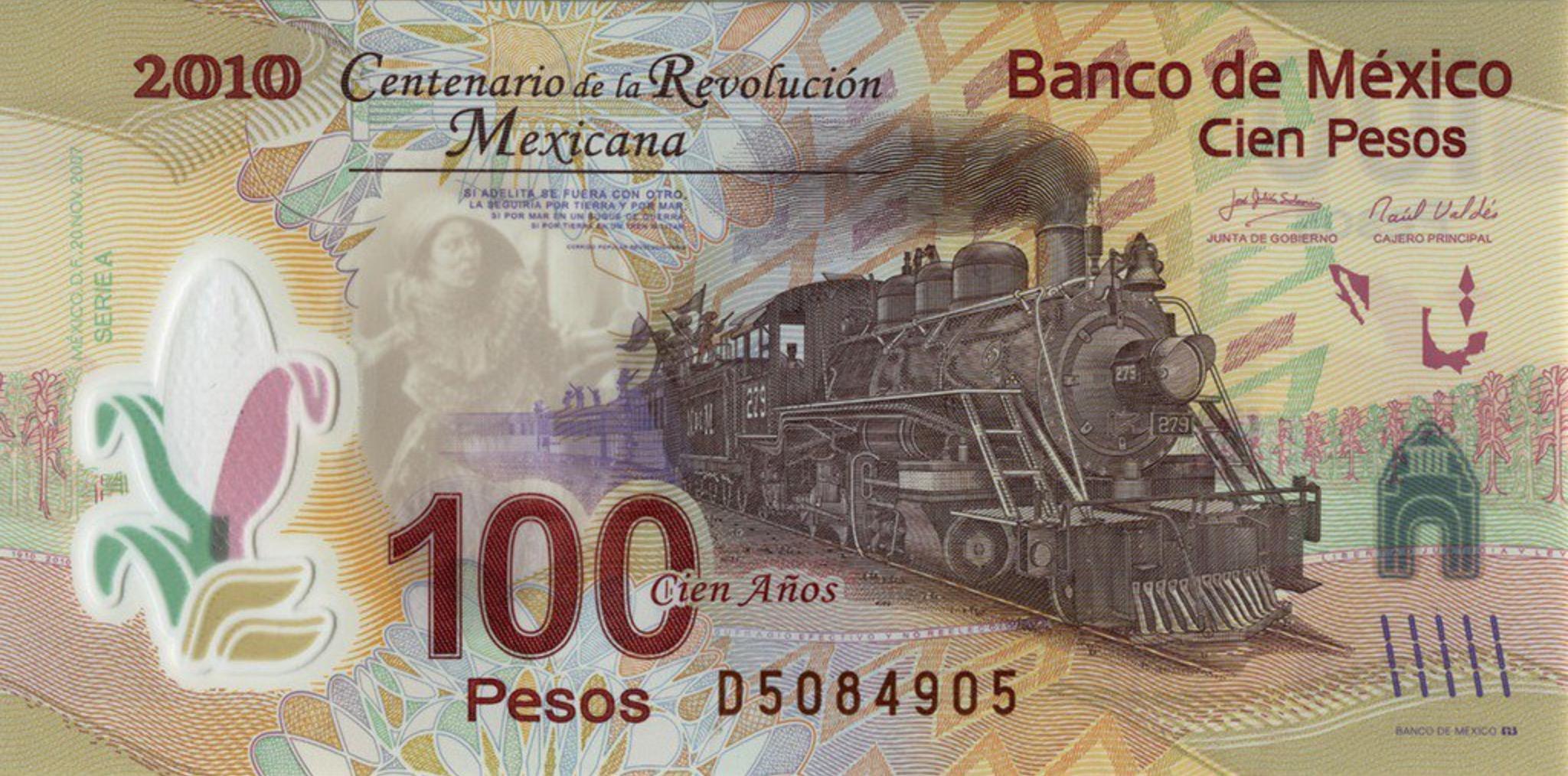 100 Mexican Pesos commemorative banknote Mexican Revolution