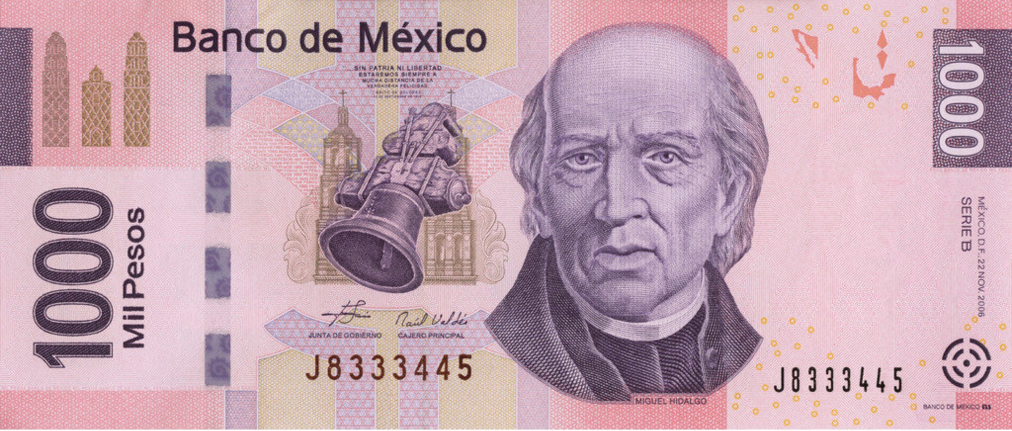 1000 Mexican Pesos banknote series F