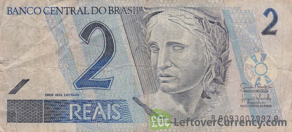 2 Brazilian Reais banknote obverse accepted for exchange