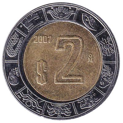 2 Mexican Pesos coin