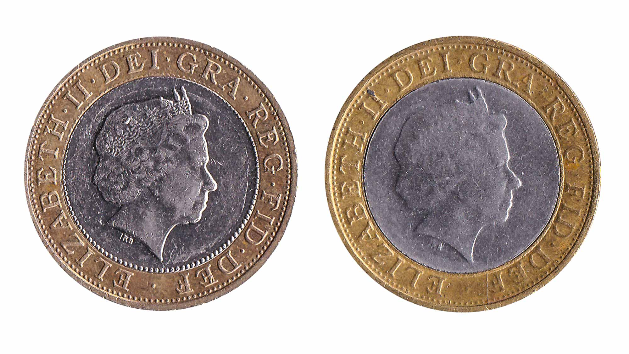 genuine versus fake 2 pound coin