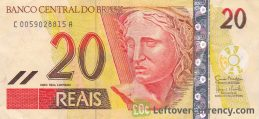 20 Brazilian Reais banknote obverse accepted for exchange