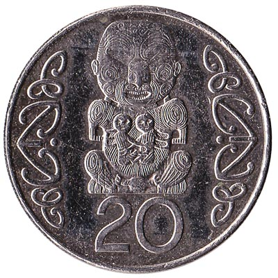 20 cent coin New Zealand large type obverse