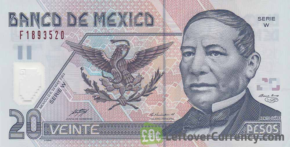 20 Mexican Pesos Banknote Series D Polymer