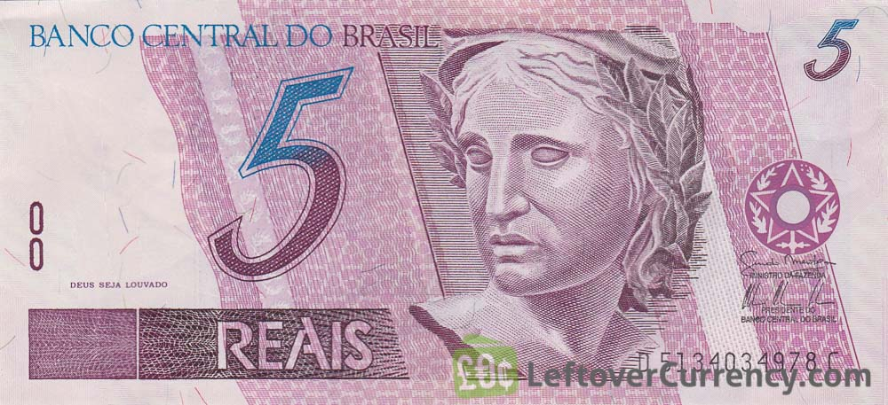 5 Brazilian Reais banknote - Exchange yours for cash today