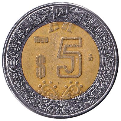 5 Mexican Pesos coin