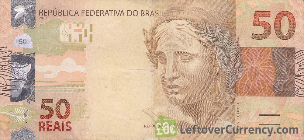 50 Brazilian Reais banknote (2010 issue) obverse accepted for exchange