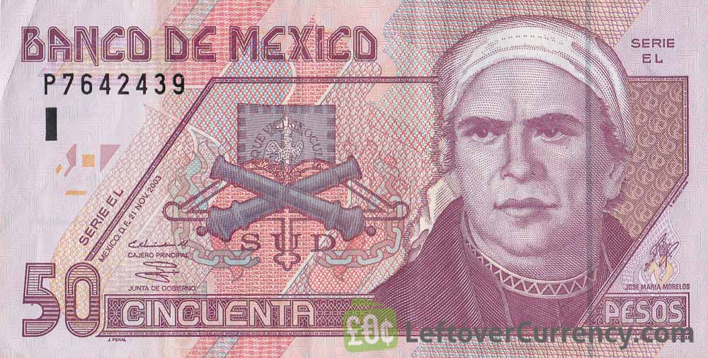 50 Mexican Pesos Banknote Series D
