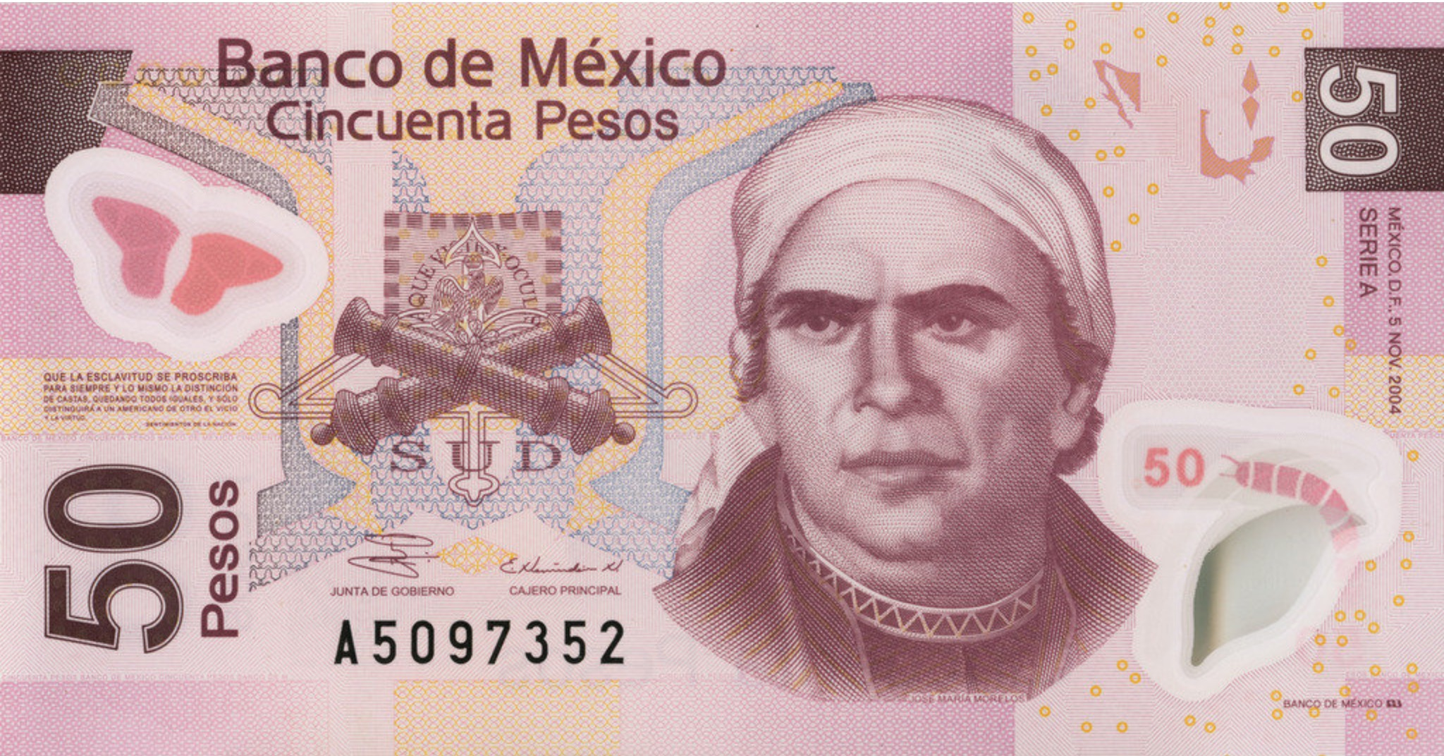 50 Mexican Pesos banknote series F