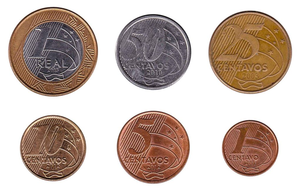 Brazilian Real and Centavos coins