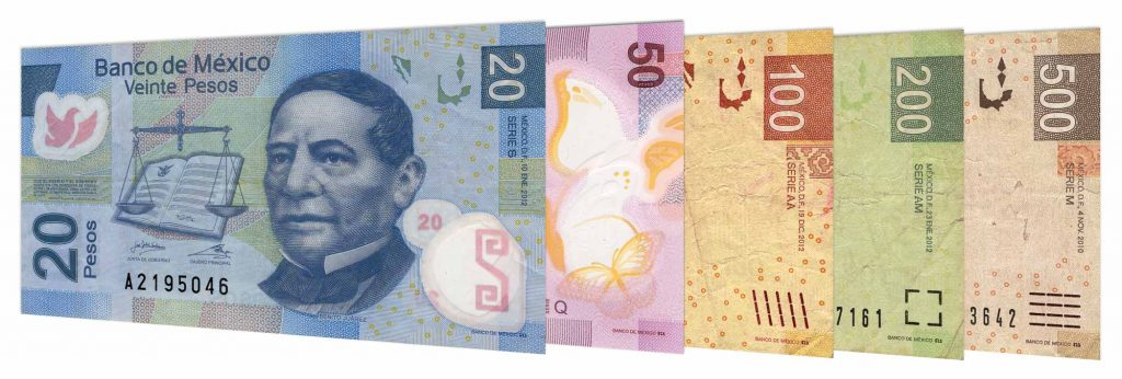 current Mexican peso banknotes accepted for exchange