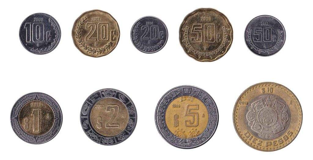 Mexican Pesos and Centavos coins