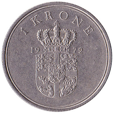 1 Danish Krone coin Frederik IX (copper-nickel)