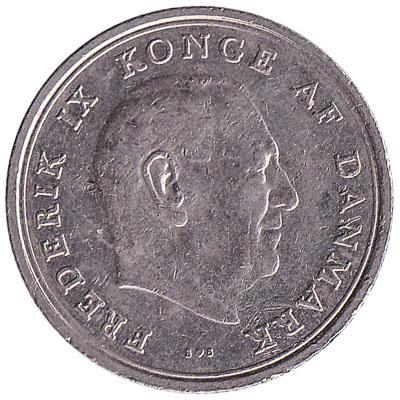 1 Danish Krone coin Frederik IX (copper-nickel)