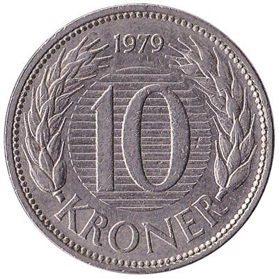 10 Danish Kroner coin Margrethe II