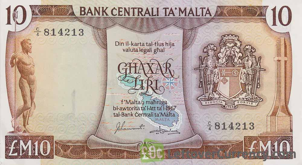 10 Maltese Liri banknote (2nd Series) obverse accepted for exchange