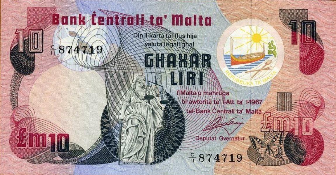 10 Maltese Liri banknote (3rd Series)
