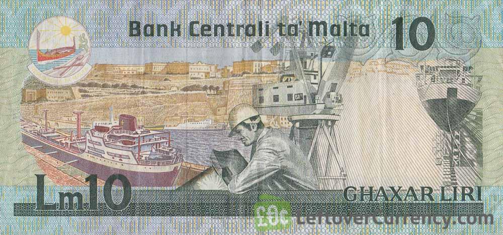 10 Maltese Liri banknote (Agatha Barbara)